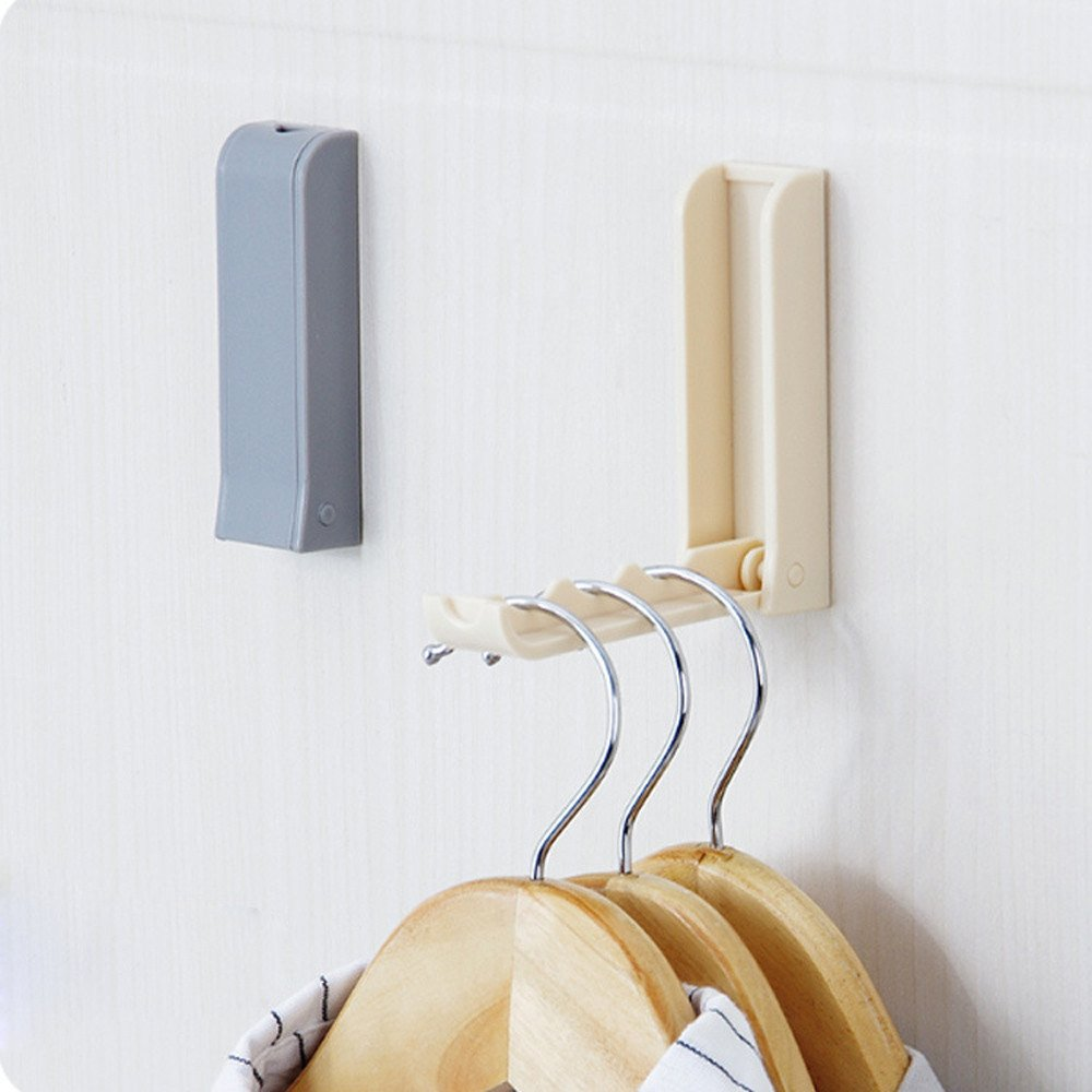 Tuscom Foldable Simple and Practical Clothes Hanger,for Space Saving,Bathroom Bedroom Hook Rack (Gray)