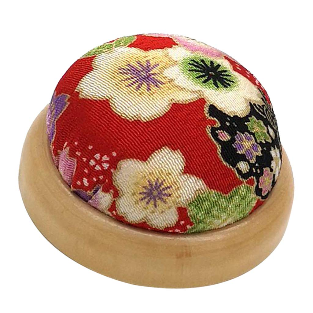 A LoveinDIY Wooden Base Pin Needle Cushion Pincushion Cute Small Ball Pins Needles Pincushions Holder Safety for Sewing Girl Women Gift Craft Handmade Quilting