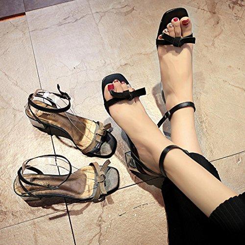 Zarupeng Damen High Heel Sandaletten mit Knoten Dicken,Sommer Offene Sandalen Gladiator Schuhe Schwarz