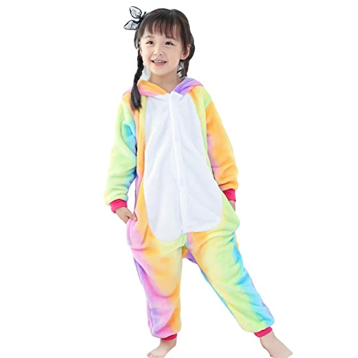 Zerlar Rainbow Pajamas Animal Costume Kids Children Sleeping Wear Kigurumi Cosplay Halloween Gift (Height: