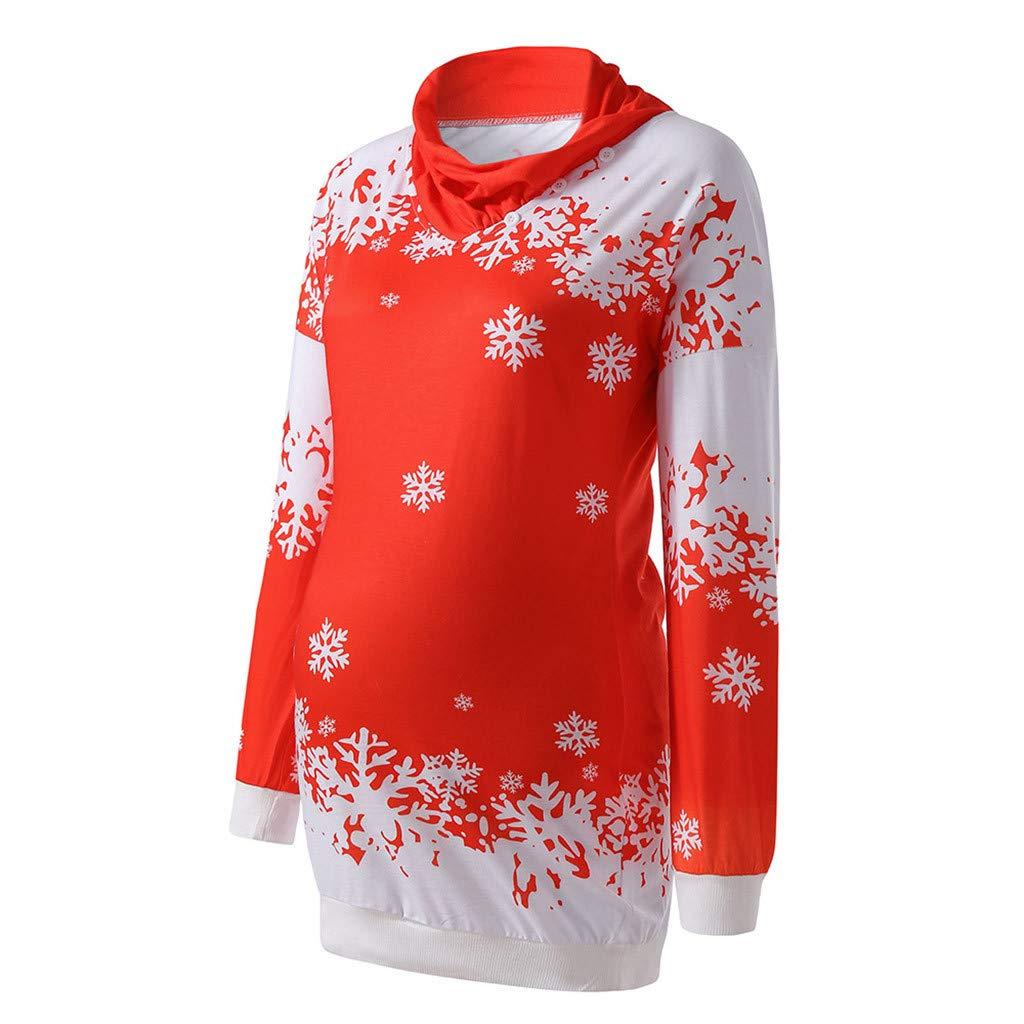 Solike Weihnachts Mutterschafts Pullover Kleid Christmas Sweatshirt, Umstandsmode Damen Winter Herbst Langarmshirt Weihnachten Snowflake Printing Gedruckt Cowl Neck Strickpullover