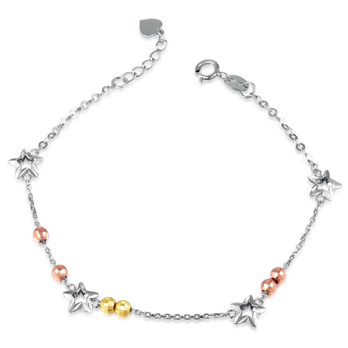 MaBelle 14K Tri-Color Gold Sparkling Stars with Rose and Yellow Twin Running Beads Bracelet (6.5'')