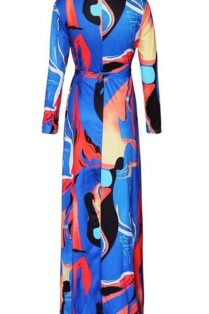 Ruhua Womens Floor Length Pritned Long Crewneck Big Hem Dress