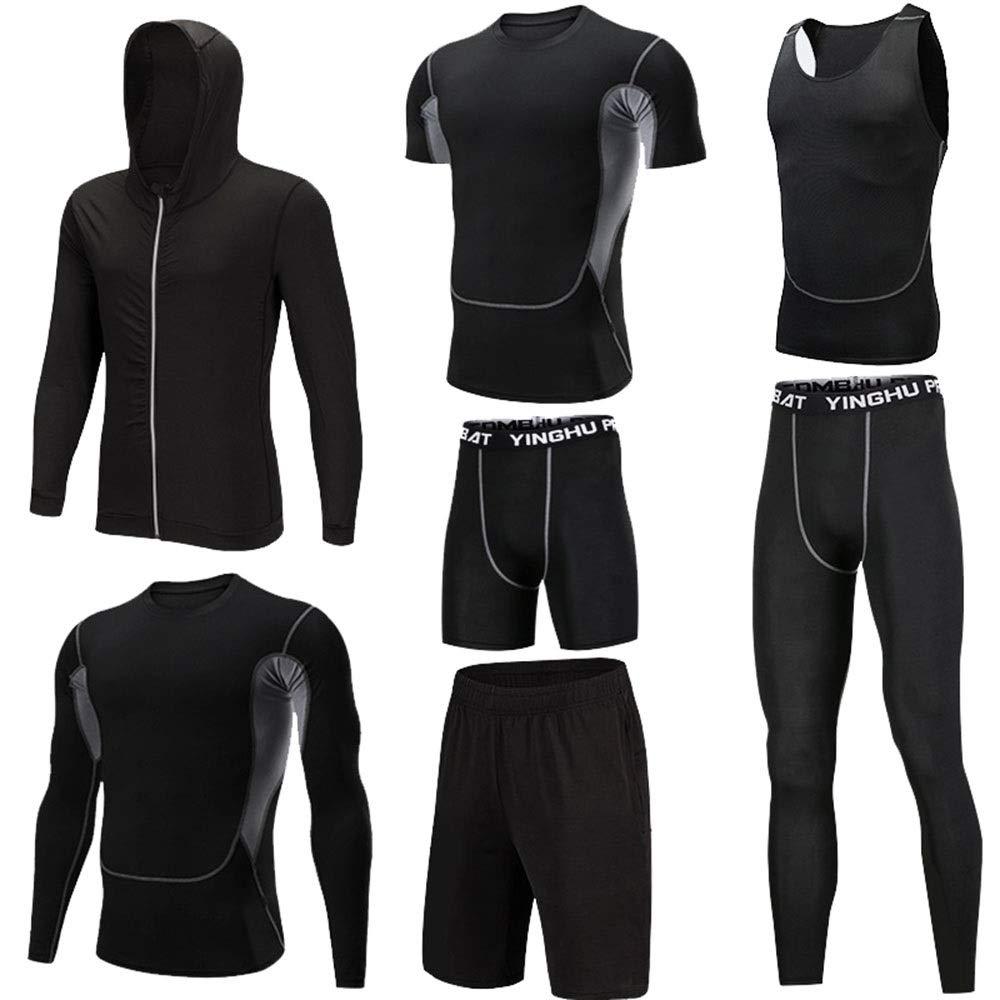 Wuxingqing Gym Wear Fitness Bekleidung Set 7 stück männer Athletic Fitness Sport Anzug mit Outwear Kompression Enge Hosen 3 Pack t-Shirt 2 Pack Shorts (Color : Black, Size : XXL)