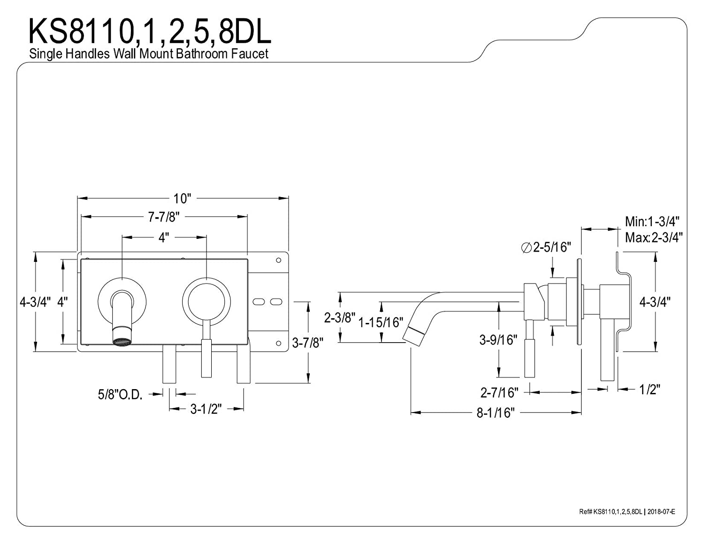 Polished Chrome Kingston Brass KS8111DL Single-Handle Wall Mount Bathroom Faucet