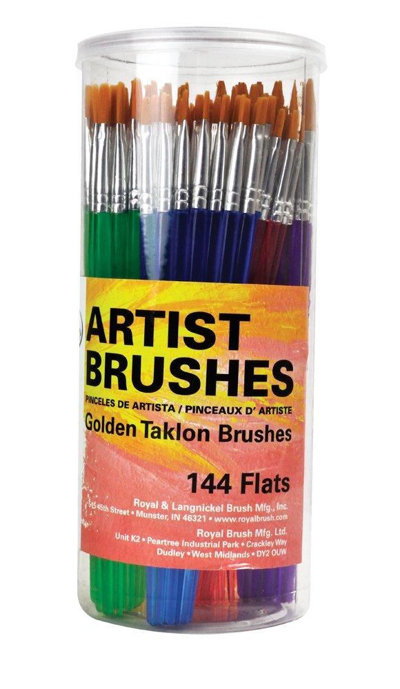 Royal Brush Flat Synthetic Golden Taklon Hair Polymer Handle Classroom Value Brush Set, Assorted Size, Set of 144