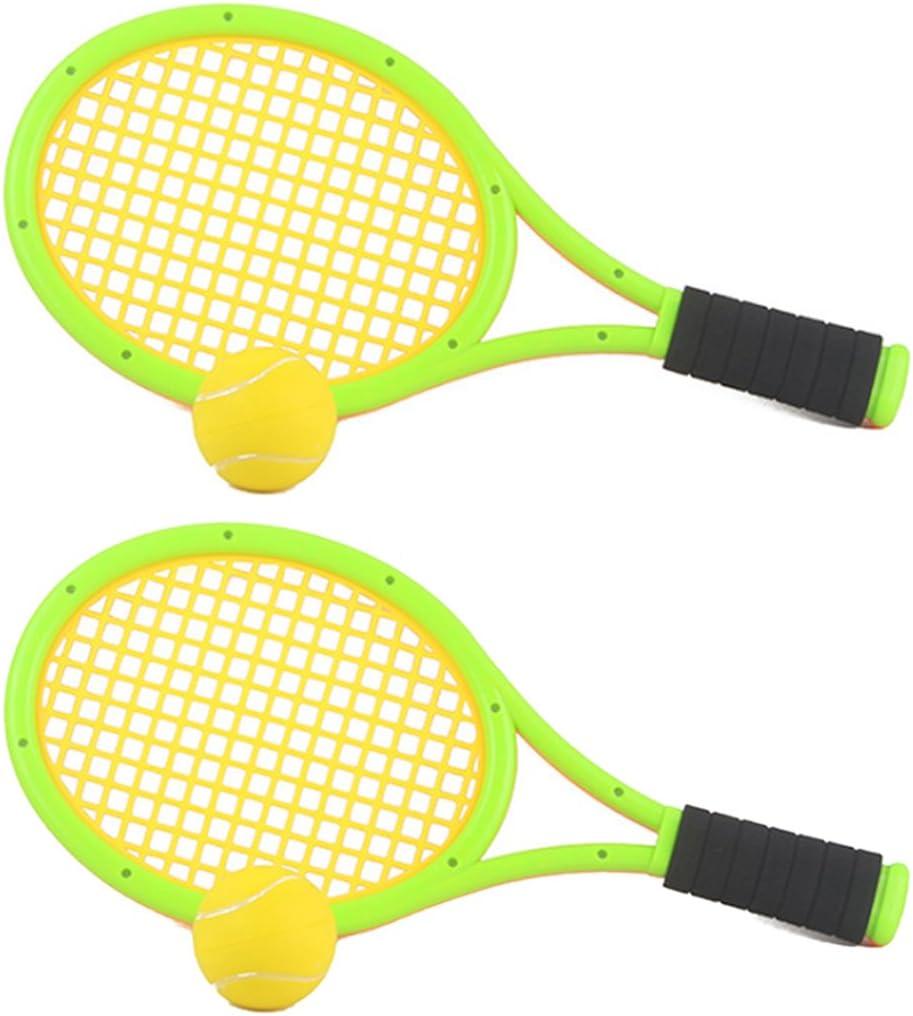 Leic Raqueta de Tenis Dos Jugadores PU Raqueta de bádminton Deportes de Interior y Exterior Juguete de Ejercicio Juego de Pelota para niños