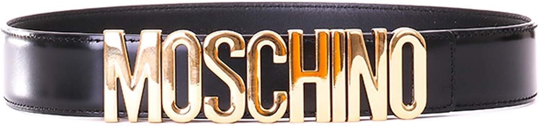 con Logo in Oro Lucida Moschino Cintura Nera Altezza 3,5 cm Chiusura Regolabile