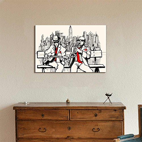 Illustration of Two Jazz Men Playing in New York Saxophone and Guitar Wall Decor ation