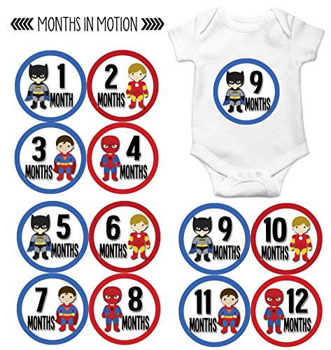 Superhero Onesies For Babies (Months in Motion 808 Monthly Baby Stickers Superhero Baby Boy Month 1-12 Milestone Age Sticker Photo Prop)