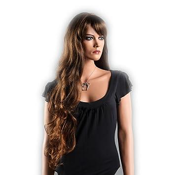 Per¹cke Sexy Taille Lange Haare Dunkelbraune Lockige Big