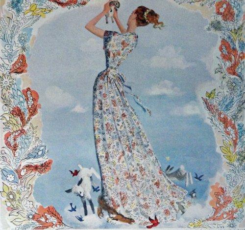 textron-hostess-coat-40s-print-ad-color-illustration-woman-sheeprabbits-and-birds-original-vintage-1