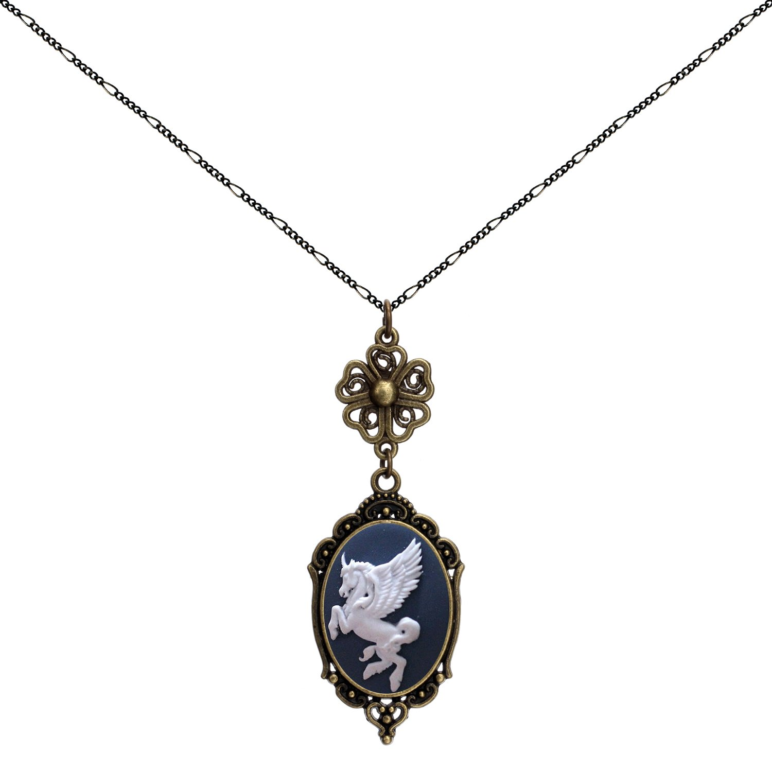 Yspace White Pegasus Lucky Clover Heart Necklace Best Friend Charms Brand New Jewelry 2 Chain Deluxe Gift by Yspace (Image #1)