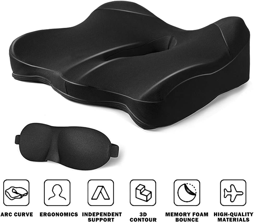 CSJT Seat Cushion 100% Pure Memory Foam Office Chair Cushion, Washable & Breathable Cover, with 3D Contoured Eye Masks, Tail Bone Pressure Relief, for Car, Wheelchair, Yoga Meditation Cushion, Black