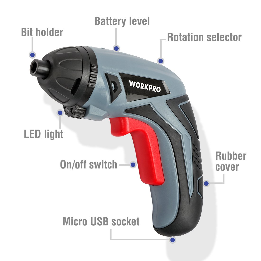 WORKPRO Cordless Rechargeable Screwdriver, Powered by 3.6V Li-ion Battery, USB Charging Cable and 10-piece Bits Included by WORKPRO (Image #2)