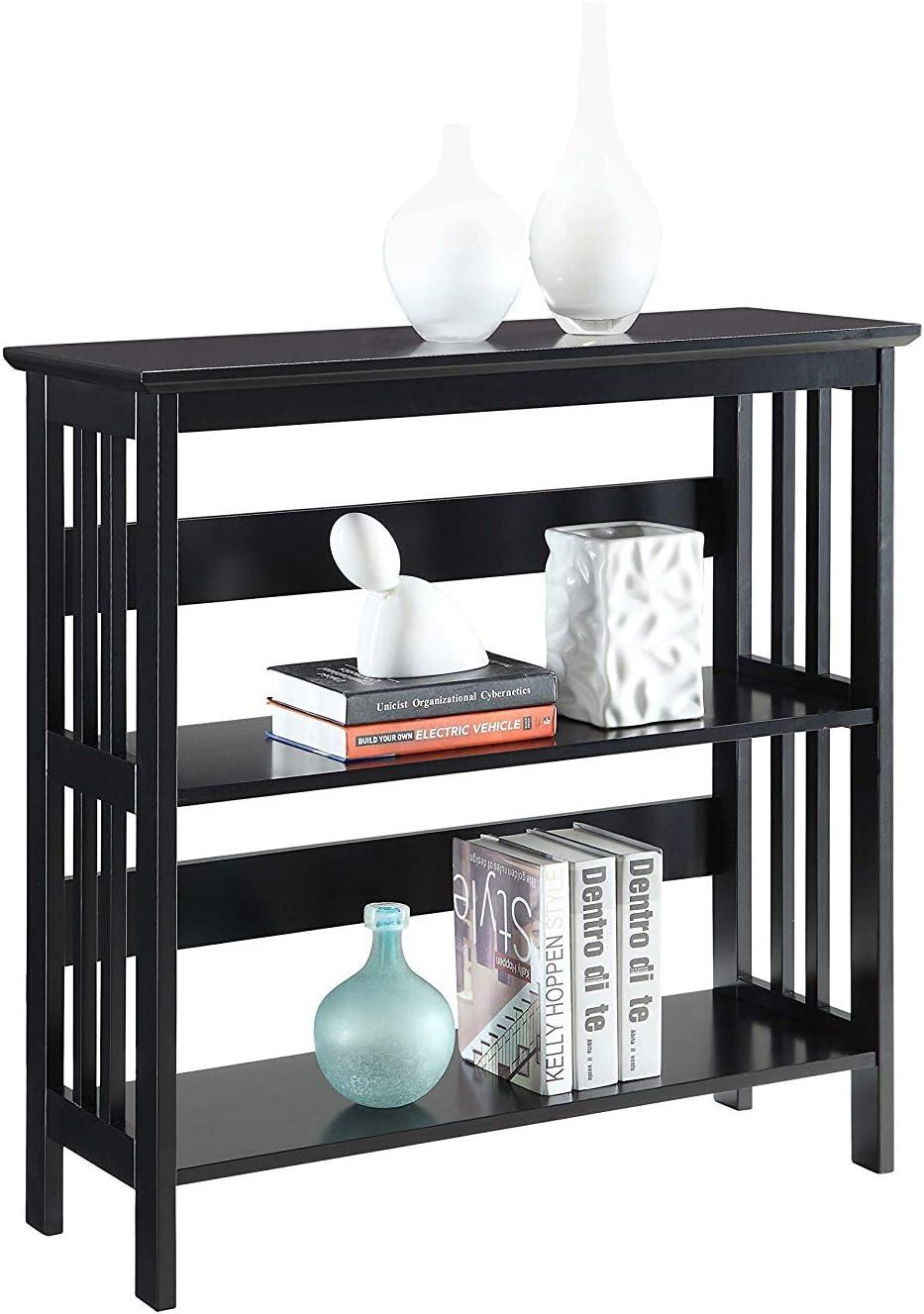 Convenience Concepts Mission 3-Tier Bookcase, Black