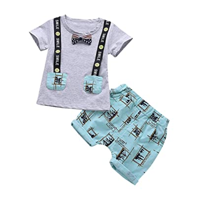 9e564dcf8 DIGOOD For 0-3 Years Old,Toddler Baby Boys Bow Short Sleeve T-
