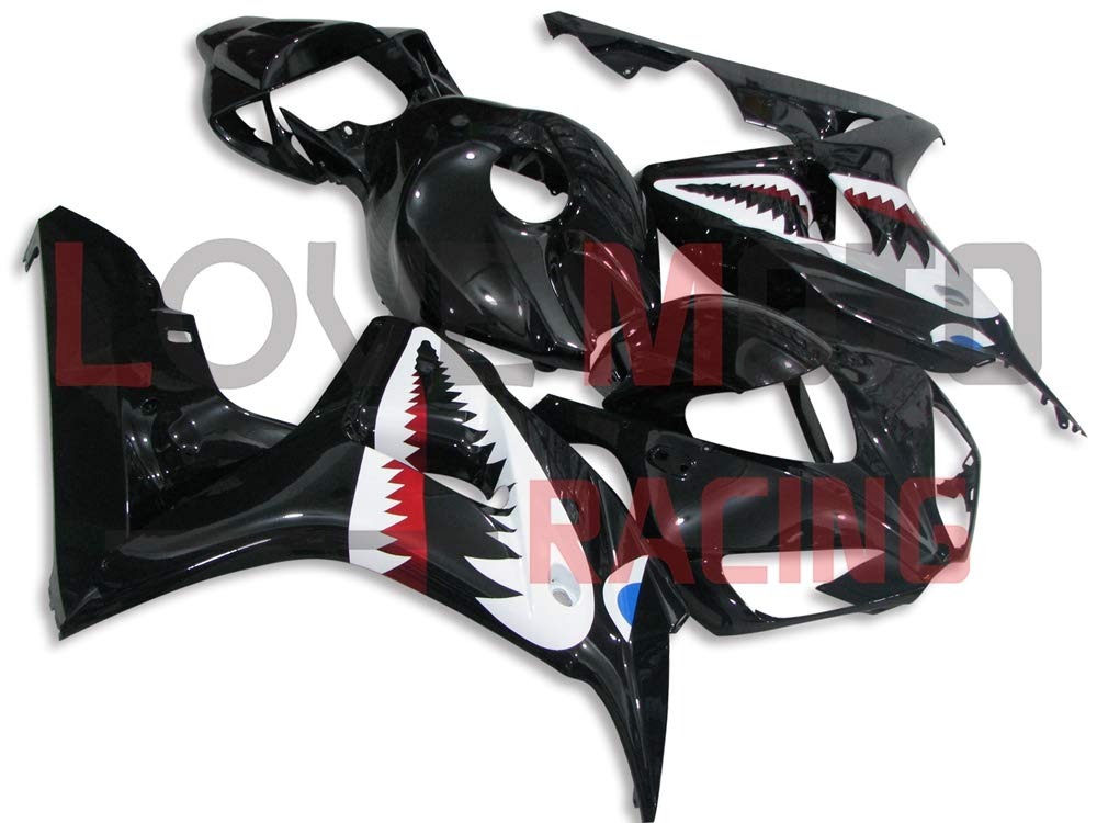LoveMoto ブルー/イエローフェアリング ホンダ honda CBR1000 RR 2006 2007 06 07 CBR1000 RR ABS射出成型プラスチックオートバイフェアリングセットのキット ブラック ホワイト   B07K8NP1P9