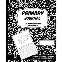 Primary Journal: Black Marble,Composition Book, draw and write journal, Unruled Top, .5 Inch Ruled Bottom Half...