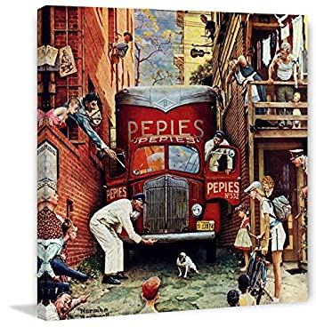 Marmont Hill Norman Rockwell Prints on Canvas Road Block Art Print, 48 by 48