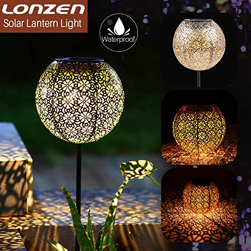 (LONZEN Solar Lantern Pathway Light Outdoor Garden Stake Lights, Sun Powered, Waterproof LED Solar Lights Decorative Pathway for Lawn, Patio, Yard)
