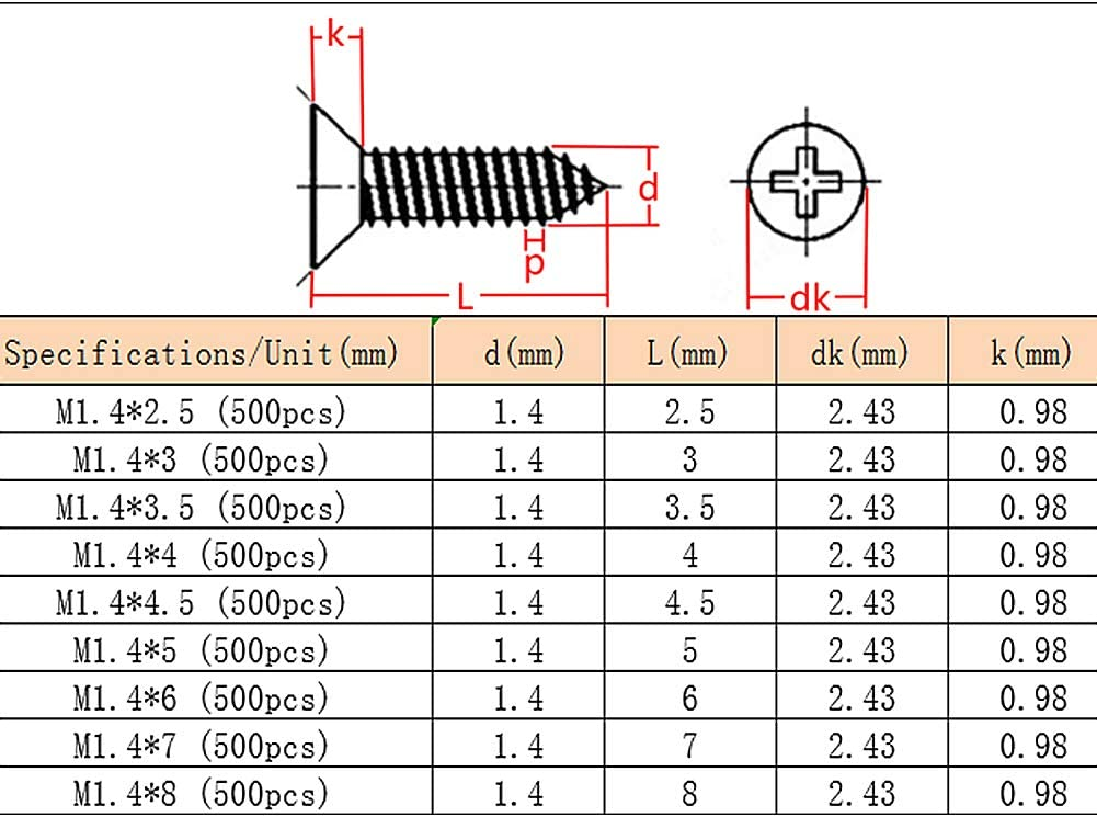 Iron Black Carbon Steel Countersunk Head Self Tapping Wood Screw M1.4 uirend Hardware Tools Cross Head Screws
