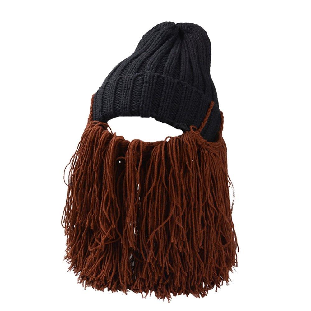 AHZZY Winter Knit Hair Beard Hat Men Women Boys Girls Beard Hat BeanieMasks Wig Hat X0564443ETD11FHKG