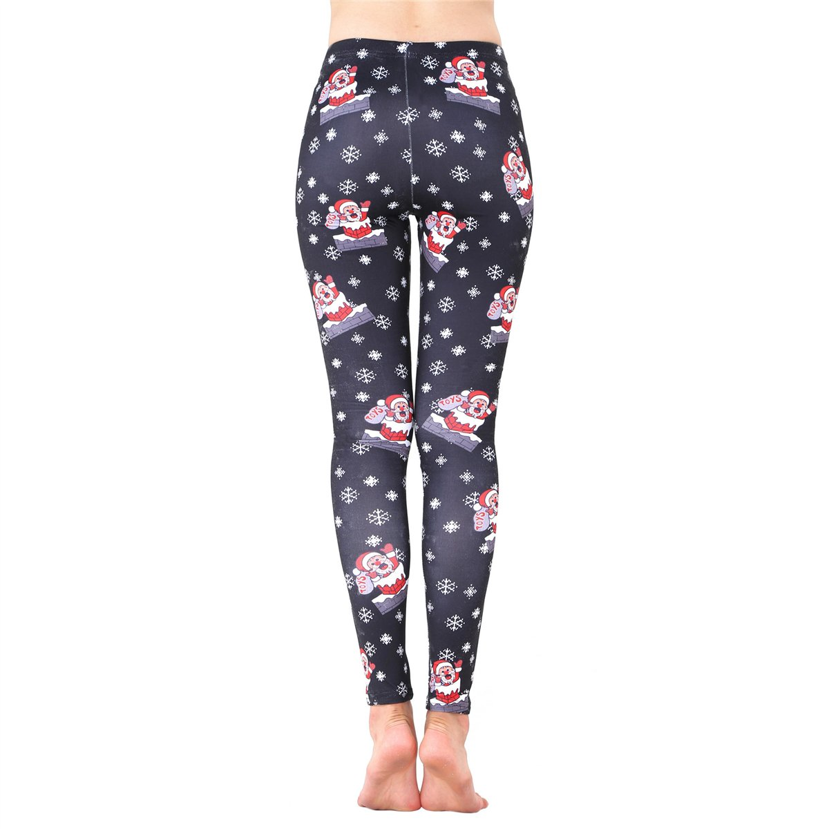 dc75d4d4a0651 JUNVEVOOL Santa Claus Snowflake Print Leggings Womens Ultra Soft Brushed Christmas  Pants at Amazon Women's Clothing store: