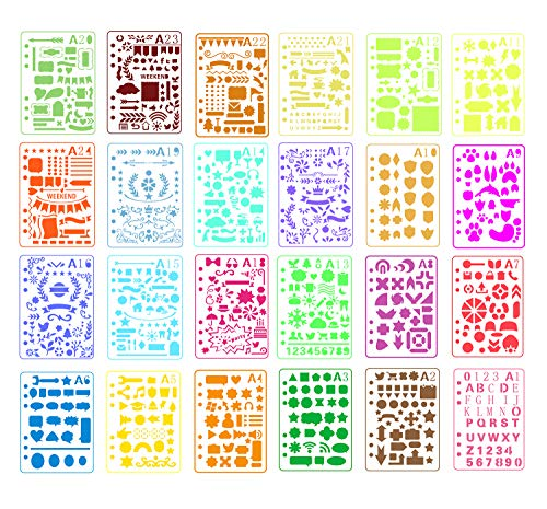- Pulaisen Journal Stencils Plastic Planner Templates with Different Design for Scrap Booking Notebook Diary Drawing Card Journaling DIY Craft etc,24 Pack (A5)