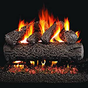 Peterson Real Fyre 24-inch Post Oak Log Set With Vented Natural Gas G4 Burner - Match Light
