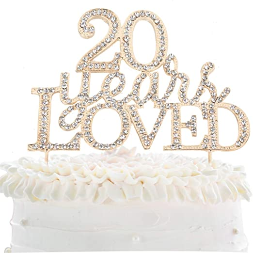 Anniversary,or Birthday Rhinestone Crystal Heart Cake topper for Wedding