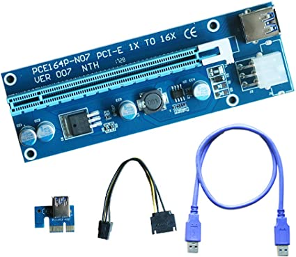 NEW 6-Pack PCI-E 1x to 16x Powered Riser 6 pin PCIe /& SATA with USB 3.0 Blue v 7