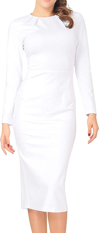 Marycrafts Women's Work Office Business Long Sleeve Pencil Midi Dress