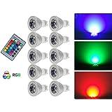 G-Anica® Lot de 10 GU10 RGB Ampoule LED 3W 16 Couleurs Changement RGB LED Bulb 250-270LM LED avec Télécommande à Boutons AC95-240V [Classe énergétique A+]