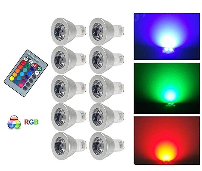 G-Anica® 10PCS 3W GU10 16 colores que cambian la bombilla del RGB LED