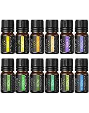 Anjou Essential Oils Set, Top 12 100% Pure & Therapeutic Grade Aromatherapy Oil Kit, 12 x 5 ml (Lavender, Sweet Orange, Peppermint, Tea Tree, Eucalyptus, Lemongrass, Bergamot, Frankincense, etc.)