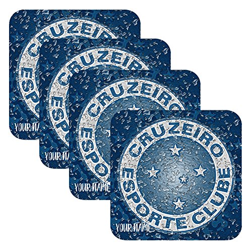 fan products of Set 4 Personalized Custom Coaster Water Drops Glossy Liga Brasil Futbol Soccer Cruzeiro