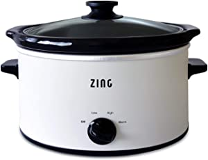 Zing 4 Qt Oval Slow Cooker, Manual, White