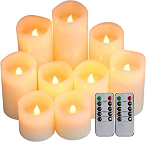 "Comenzar Flameless Candles, Battery Candles Set of 9(D3 x H3 4"" 5"" 6"" 7"" 8"") Pillar LED Candles with Remote Timer (Ivory)(Batteries not Included)"