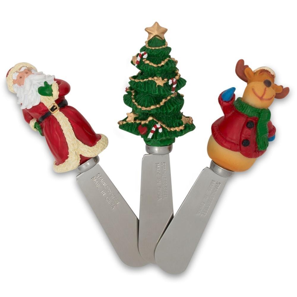 4.5'' Set of 3 Santa, Reindeer, and Christmas Tree Butter Spreaders (Spatulas)
