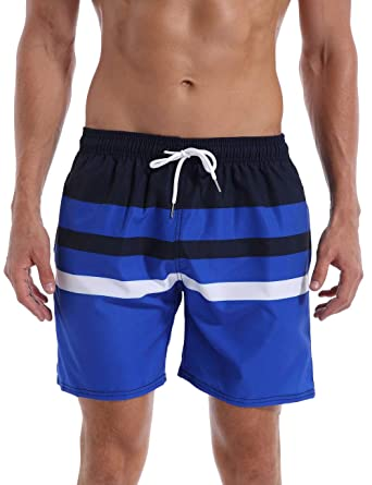 b25e6c3ec5 QRANSS Men Swim Shorts Waterproof Striped Swim Trunks Lightweight Quick Dry  Beach Shorts: Amazon.co.uk: Clothing