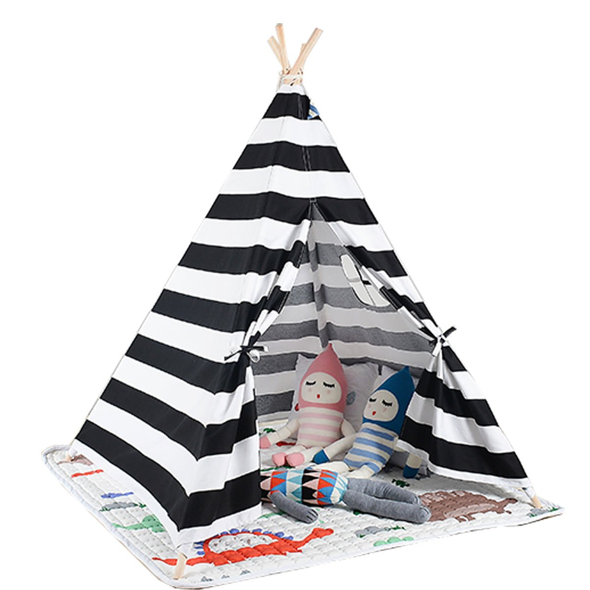 White and black color children game room kids play tent Teepee with mat