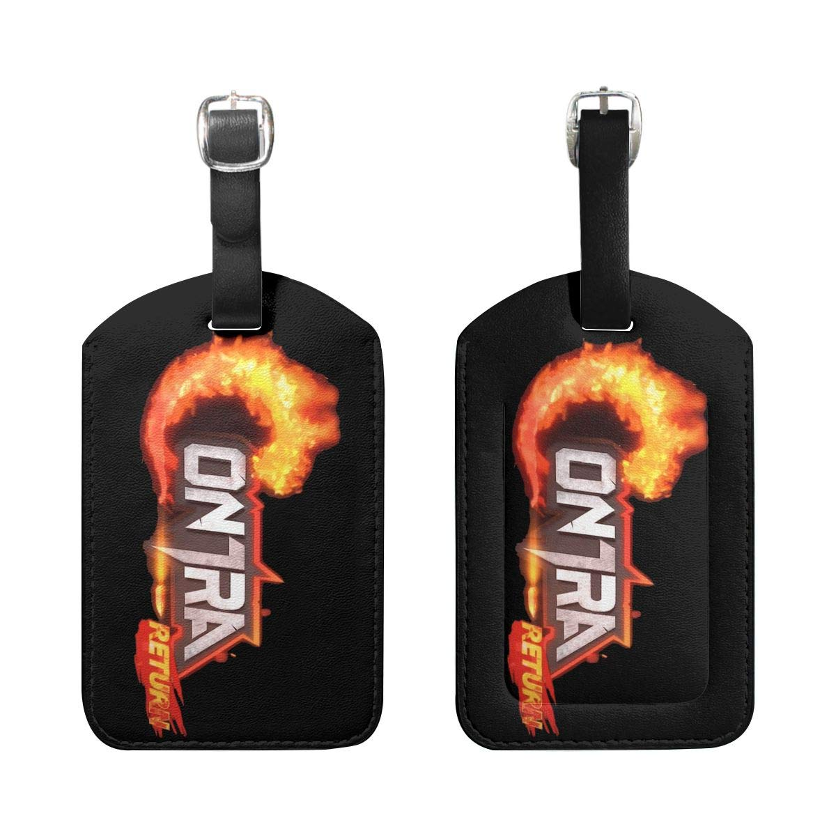 Liuchuan Contra Logo PU Leather Luggage Tags Suitcase Labels Bag Travel Accessories Set of 2