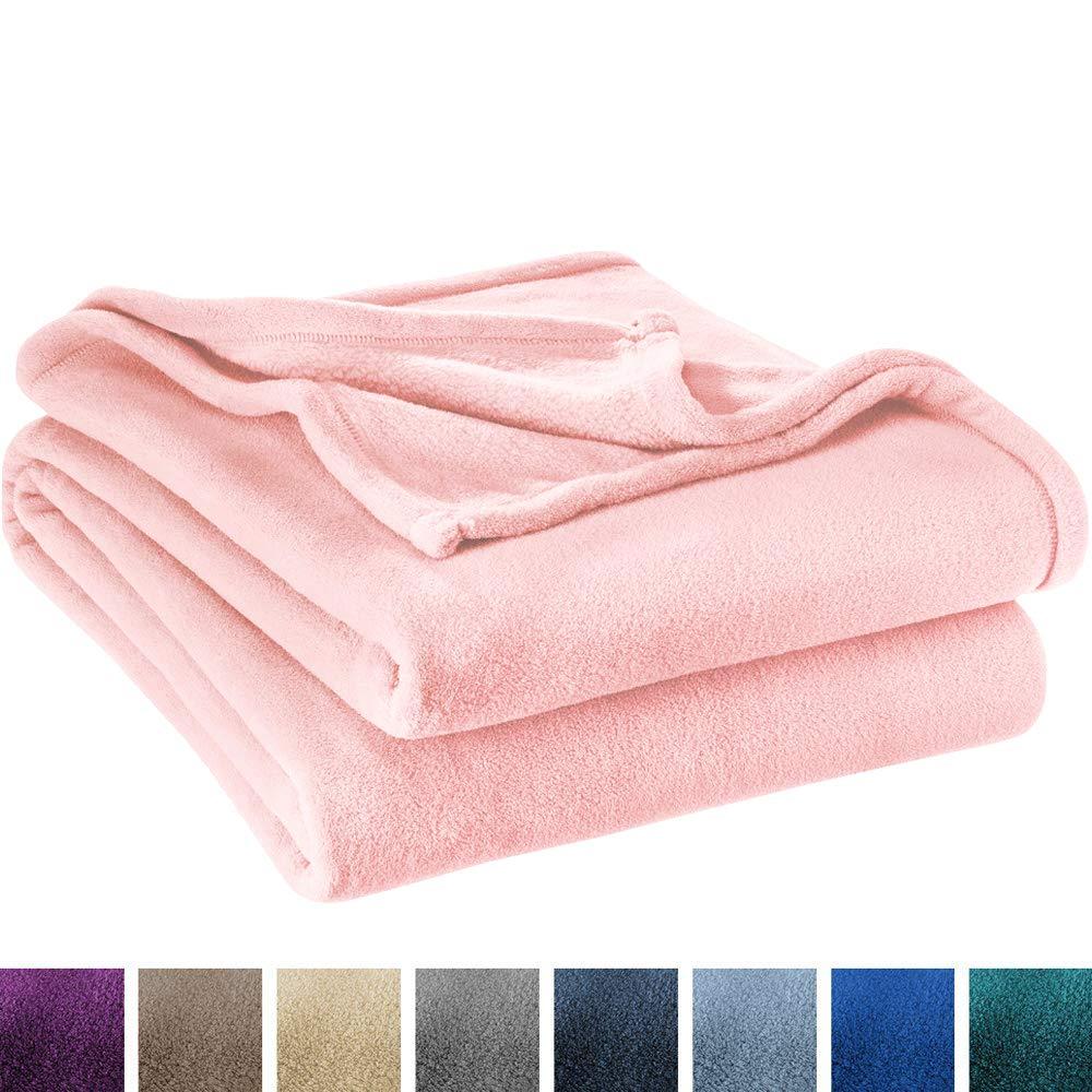 Ivy Union Ultra Soft Microplush Velvet Blanket - Luxurious Fuzzy Fleece Fur - All Season Premium Bed Blanket, Twin Extra Long (Twin XL/Twin, Light Pink)