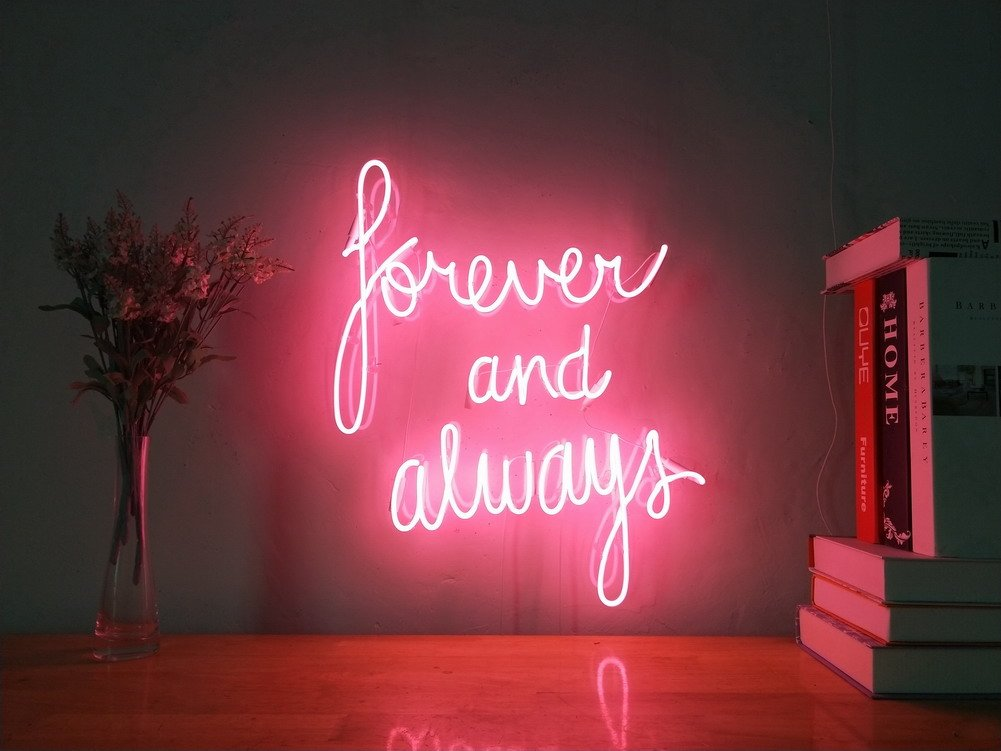 Forever And Always Real Glass Neon Sign For Bedroom Garage Bar Man Cave Room Home Decor Handmade Artwork Visual Art Dimmable Wall Lighting Includes Dimmer