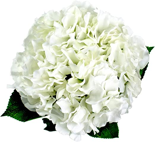 White Hydrangeas Realistic Artificial Faux Silk Flowers Bunch of 5 Extra Large