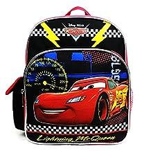 "Disney Pixar Cars 3 Boys Mini 10"" Canvas Black School Backpack Lightning McQueen"