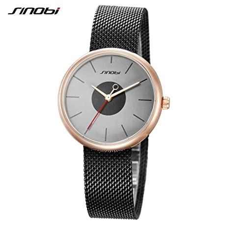 Amazon.com: SINOBI Top Brand Luxury Ultrathin Women Watches Casual Black Quartz Wristwatches Stainless Steel: Watches