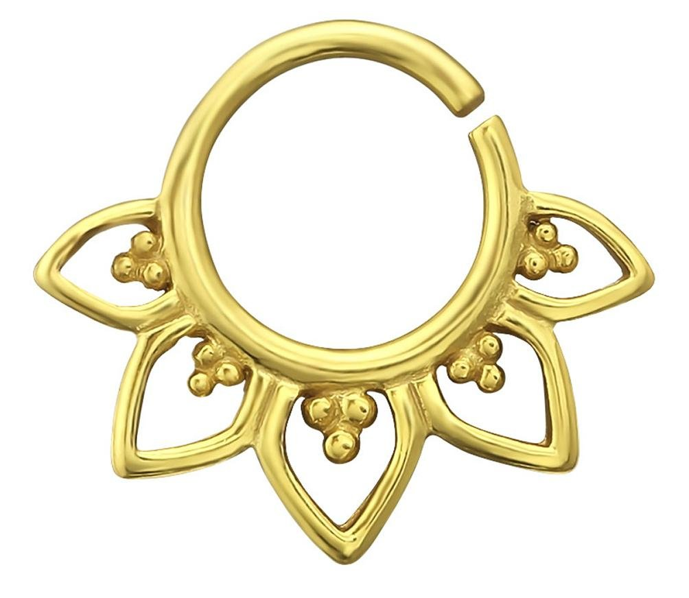 20G 9mm Gold Plated Sterling Silver Lotus Flower Nose/Daith Piercing Hoop