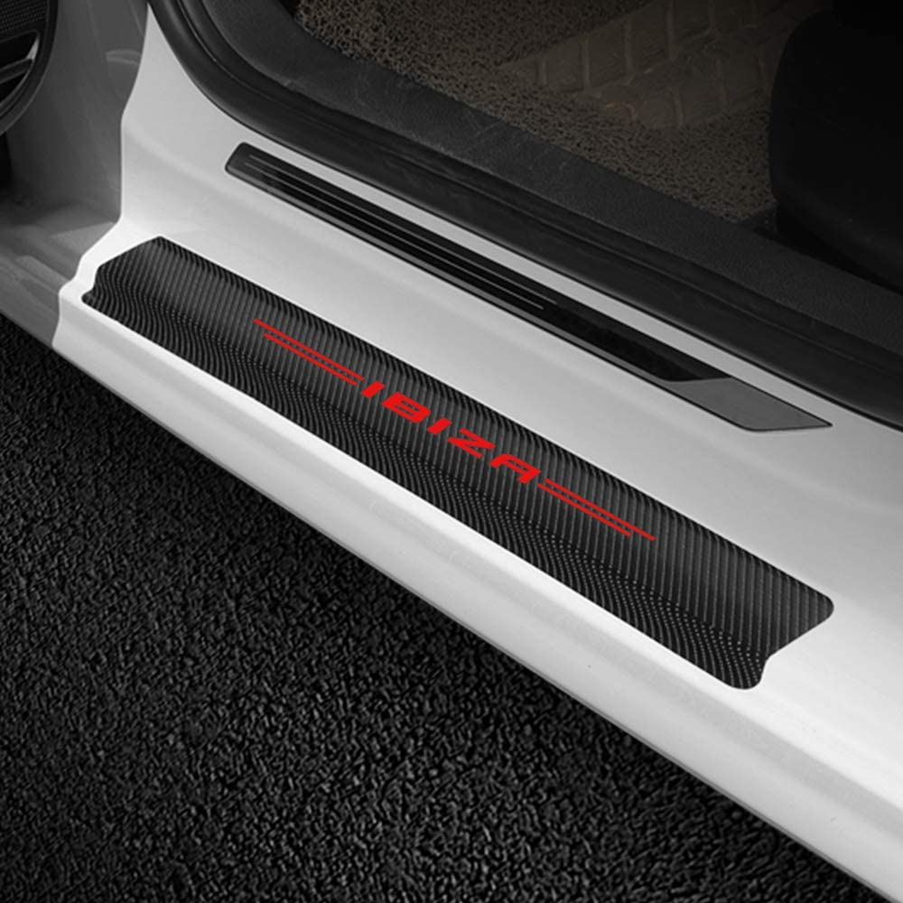 TAABOBO 4PCS Auto Sills Scuff Cover Anti Scratch Vinyl Stickers Car Door Plate Guards Carbon Fiber Protector Accessories,For Seat Ibiza